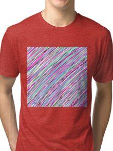 Pink/Purple/Blue/Green/Black Color Stripes Tri-blend T-Shirt