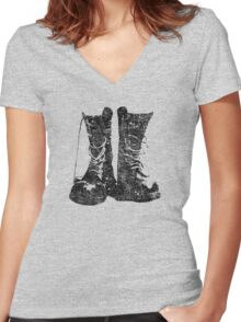 Leather Boot T shirt Women's Fitted V-Neck T-Shirt