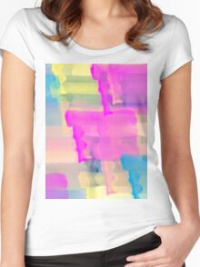 Watercolor Abstract Vivid Colorful Pop Women's Fitted Scoop T-Shirt