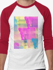 Watercolor Abstract Vivid Colorful Pop Men's Baseball ¾ T-Shirt