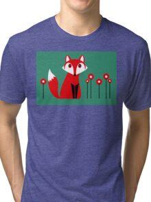 LONE FOX IN GARDEN Tri-blend T-Shirt