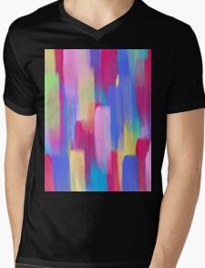 Vertical Watercolor Abstract Vivid Colorful Pop Mens V-Neck T-Shirt