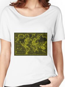 World Map (1766) Black & Yellow Women's Relaxed Fit T-Shirt