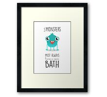 bathroom art, monsters, children's art, bath time rules Framed Print