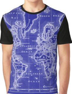 World Map (1766) Blue & White  Graphic T-Shirt