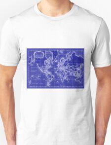 World Map (1766) Blue & White  Unisex T-Shirt