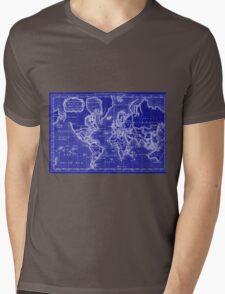 World Map (1766) Blue & White  Mens V-Neck T-Shirt