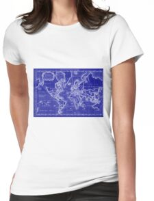 World Map (1766) Blue & White  Womens Fitted T-Shirt