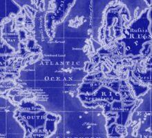 World Map (1766) Blue & White  Sticker