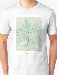 Prague Map Blue Vintage Unisex T-Shirt