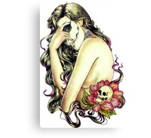 Woman rose skull Canvas Print