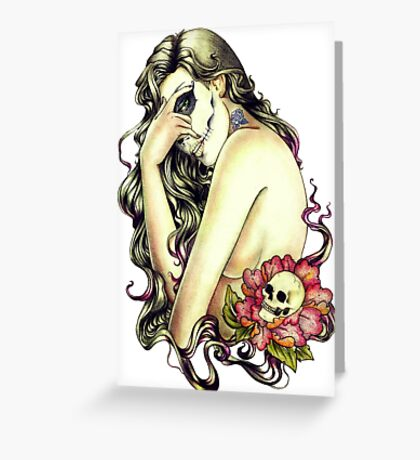 Woman rose skull Greeting Card