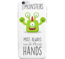 Monster reminder for children of the bathroom rules! iPhone Case/Skin