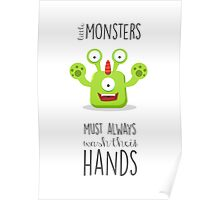 Monster reminder for children of the bathroom rules! Poster