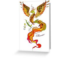 Phoenix vector illustartion in russian tradition style Greeting Card