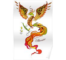 Phoenix vector illustartion in russian tradition style Poster