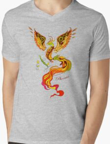 Phoenix vector illustartion in russian tradition style Mens V-Neck T-Shirt