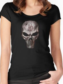 The Punisher with Daredevil inscription Women's Fitted Scoop T-Shirt