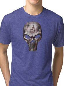 The Punisher with Daredevil inscription Tri-blend T-Shirt