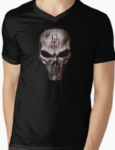 The Punisher with Daredevil inscription Mens V-Neck T-Shirt