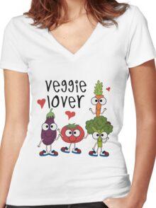 Vegetables Vegetarian Veggie Lover Women's Fitted V-Neck T-Shirt