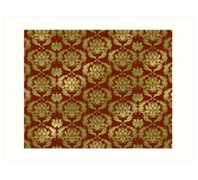 Damask in red and gold Art Print