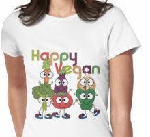 Veggies Vegetables Happy Vegan Womens Fitted T-Shirt