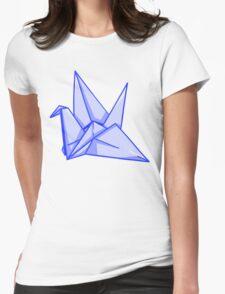 Blue Paper Crane Womens Fitted T-Shirt