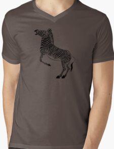 Zebra Mens V-Neck T-Shirt