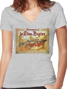 antique French automobiles de Dion Bouton playing cards theme ad Women's Fitted V-Neck T-Shirt