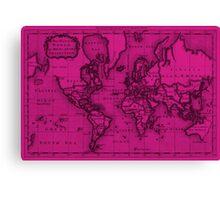 World Map (1766) Pink & Black Canvas Print