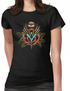 All Seeing Rose Womens Fitted T-Shirt