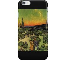'Landscape with Couple Walking and Crescent Moon' by Vincent Van Gogh (Reproduction) iPhone Case/Skin