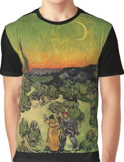'Landscape with Couple Walking and Crescent Moon' by Vincent Van Gogh (Reproduction) Graphic T-Shirt