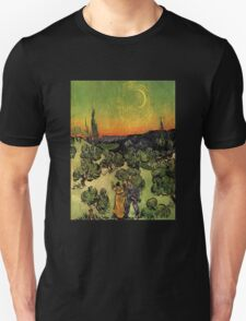 'Landscape with Couple Walking and Crescent Moon' by Vincent Van Gogh (Reproduction) Unisex T-Shirt