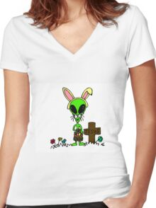 Little Greenie the Alien Discovers Easter! Women's Fitted V-Neck T-Shirt