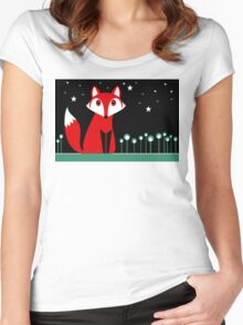 NIGHT FOX Women's Fitted Scoop T-Shirt