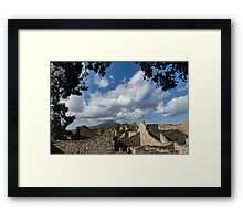 Mount Vesuvius Volcano, Framed in Ancient Pompeii Ruins and Italian Cypress Trees Framed Print