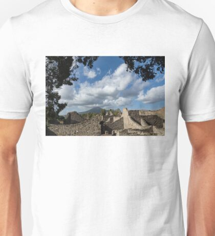 Mount Vesuvius Volcano, Framed in Ancient Pompeii Ruins and Italian Cypress Trees Unisex T-Shirt