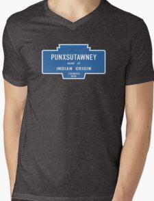 Punxsutawney (Groundhog Day), Entrance Sign, Pennsylvania, USA Mens V-Neck T-Shirt