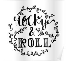 rocky and roll hand lettering Poster