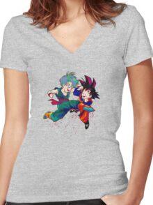 Trunks vs Goten - watercolor Women's Fitted V-Neck T-Shirt
