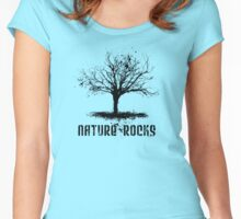 Nature Rocks Black Tree Silhouette  Women's Fitted Scoop T-Shirt
