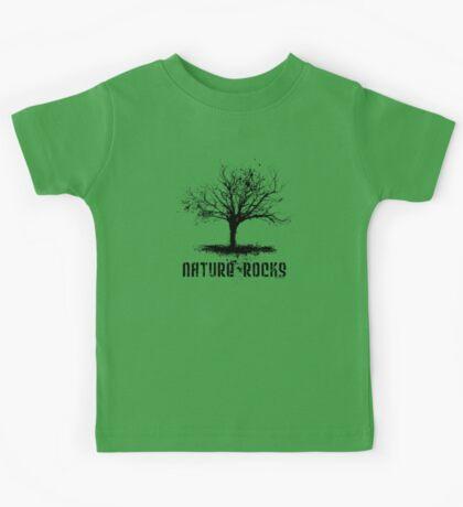 Nature Rocks Black Tree Silhouette  Kids Tee