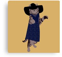 Fashion Cat - In 70's style summer dress Canvas Print