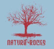 Nature Rocks Red Tree Silhouette  Kids Tee