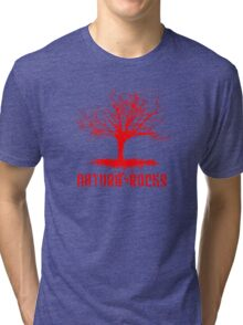 Nature Rocks Red Tree Silhouette  Tri-blend T-Shirt