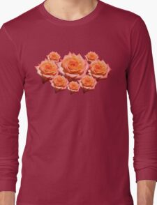 Orange Rose with Droplets Long Sleeve T-Shirt