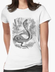 Vintage Snake Hooded Serpent Illustration Retro 1800s Black and White Snakes Reptile Image Womens Fitted T-Shirt