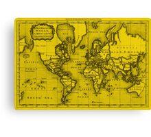 World Map (1766) Yellow & Black Canvas Print